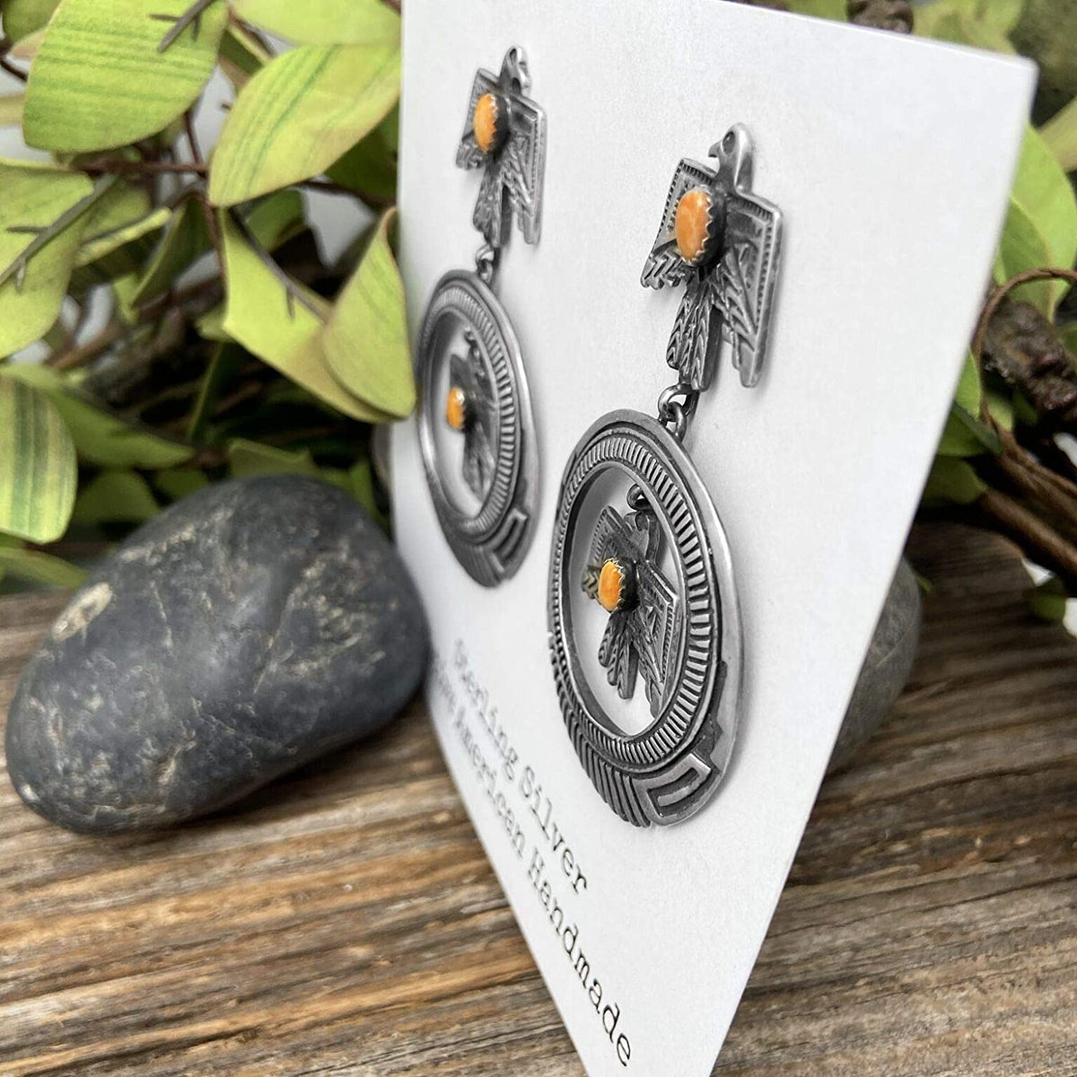 Orange Spiny Oyster Shell Statement Earrings, Thunderbird, Oxidized Sterling Silver, Authentic Navajo Native American USA Handmade, Artist Signed, Nickle Free, Southwest Vintage Style