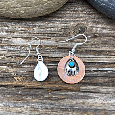 Genuine Sleeping Beauty Turquoise Bear Paw Earrings, 925 Sterling Silver, Native American USA Handmade, French Hook Style, Nickle Free