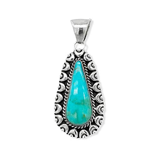 Genuine Cerillos Turquoise Pendant, Sterling Silver, Authentic Navajo Native American USA Handmade, Artist Signed, Nickel Free, Southwest Jewelry