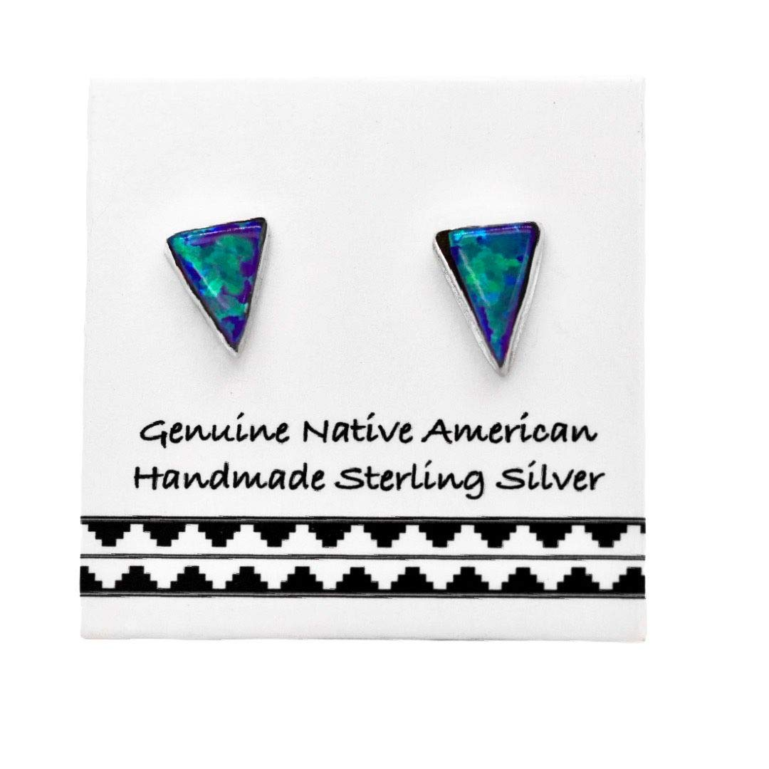 6mm Purple Desert Opal Stud Earrings in 925 Sterling Silver, Native American USA Handmade, Nickle Free, Synthetic Opal, Triangle…
