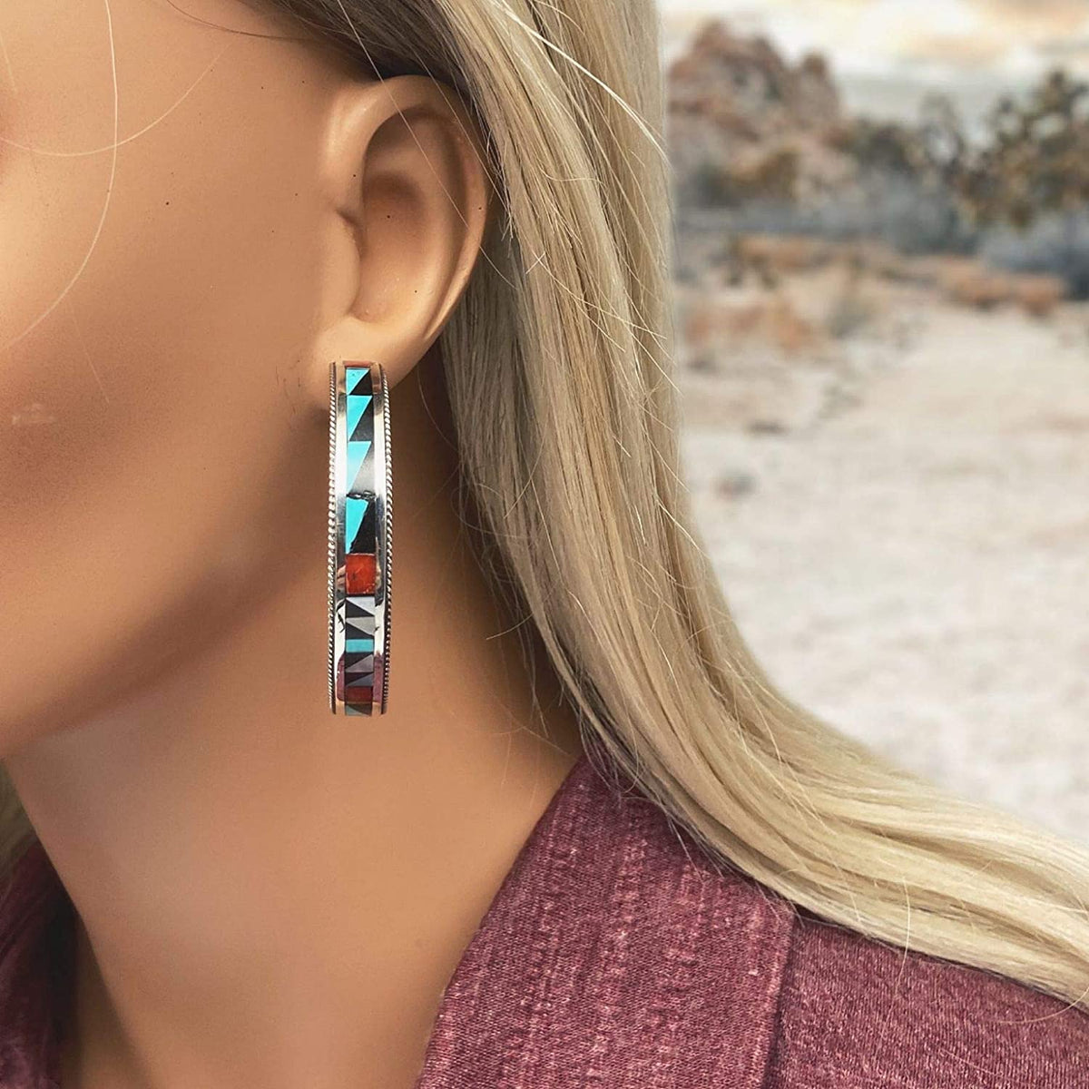 Genuine Stone Statement Hoop Earrings, Zuni Tribe Native American USA Handmade, Turquoise, Coral, Onyx, Mother of Pearl, Sterling Silver