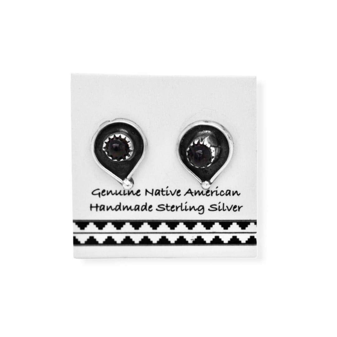 11mm Genuine Onyx Stud Earrings in 925 Sterling Silver, Authentic Native American Handmade, Southwest Jewelry with Natural Black Stone