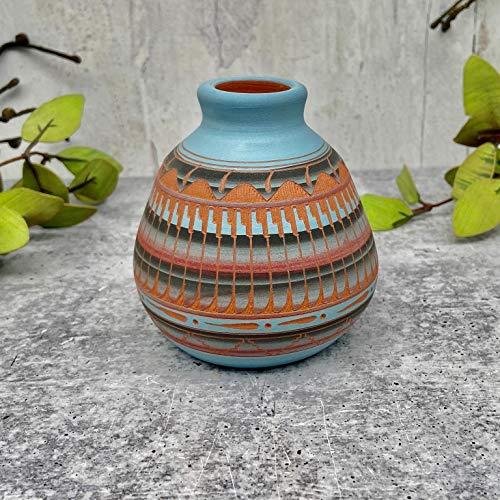 Authentic Native American Pottery, Miniature Traditional Seedpot Style, Genuine Navajo Tribe USA Handpainted and Etched, Artist Signed, Southwestern Home Decor Collectible