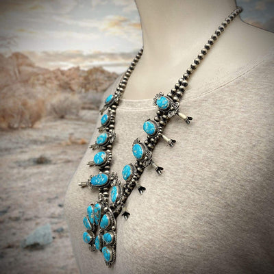 Genuine Turquoise Squash Blossom Necklace Set, Navajo Native American Tribe Handmade, Nevada Pilot Mountain Mine Turquoise, Oxidized 925 Sterling Silver, Artisan Signed, One of a Kind Statement Piece