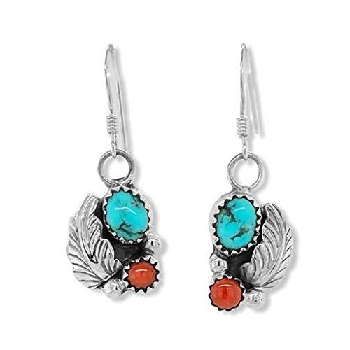 Genuine Kingman Turquoise and Red Coral Earrings, 925 Sterling Silver, Native American USA Handmade, Artisan Signed, Nickel Free, French Hook
