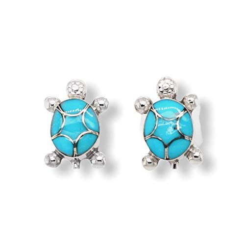 Genuine Sleeping Beauty Turquoise Earrings in 925 Sterling Silver, Inlay Turtle Design, Authentic Native American Handmade in the USA, Nickle Free