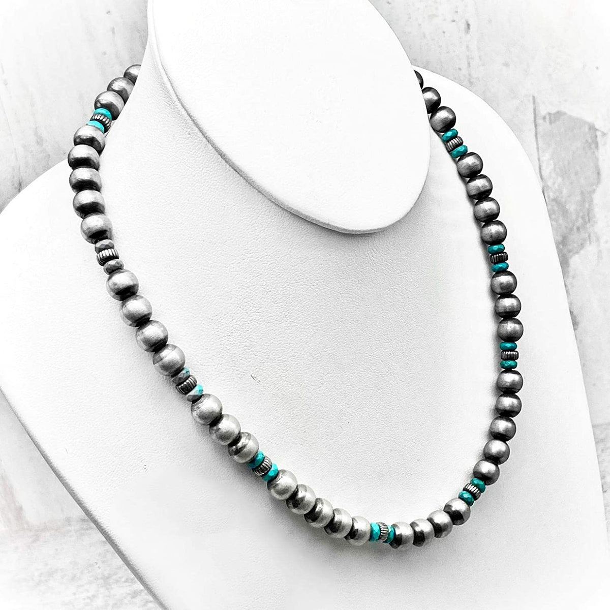 20 inch Genuine Navajo Pearl Necklace with Turquoise, Sterling Silver, Authentic Navajo Native American USA Handmade in New Mexico