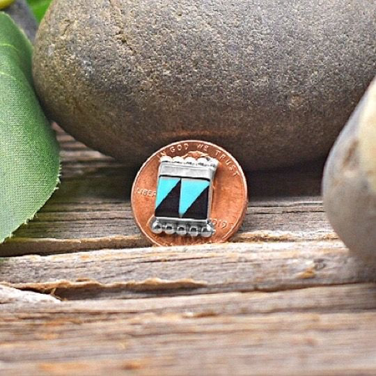 Genuine Sleeping Beauty Turquoise and Onyx Earrings in 925 Sterling Silver, Native American Zuni Inlay, Handmade in the USA, Nickle Free