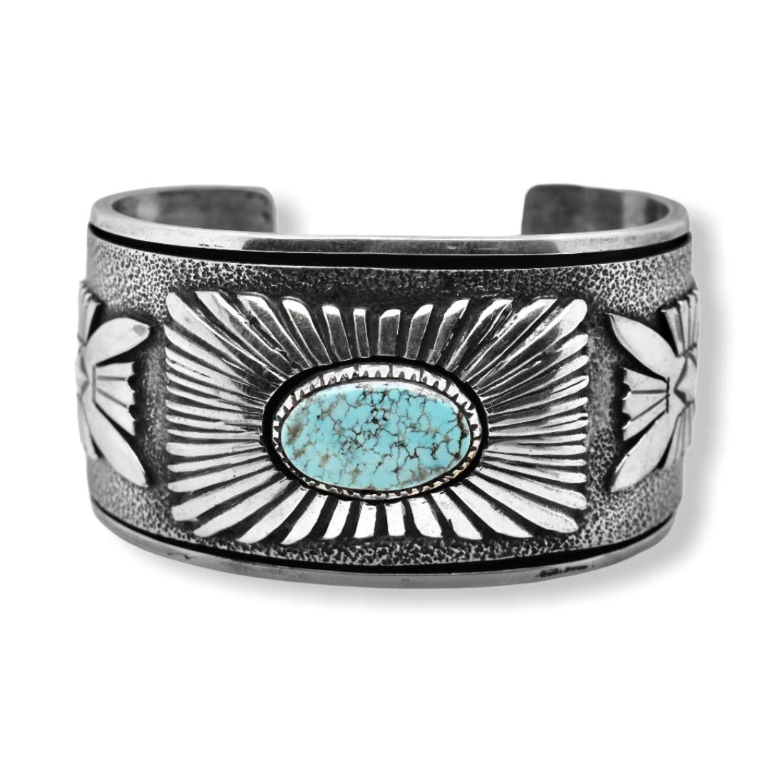Genuine Dry Creek Turquoise Cuff Bracelet, Sterling Silver, Authentic Navajo Native American USA Handmade, Artist Signed, One of a Kind, Size Women's Large