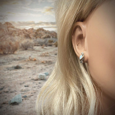 Desert Opal Stud Earrings, 925 Sterling Silver, Native American USA Handmade, Nickel Free, White Synthetic Opal