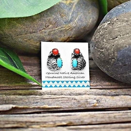 Genuine Sleeping Beauty Turquoise and Red Coral Stud Earrings in 925 Sterling Silver, Authentic Native American Handmade, Nickle Free