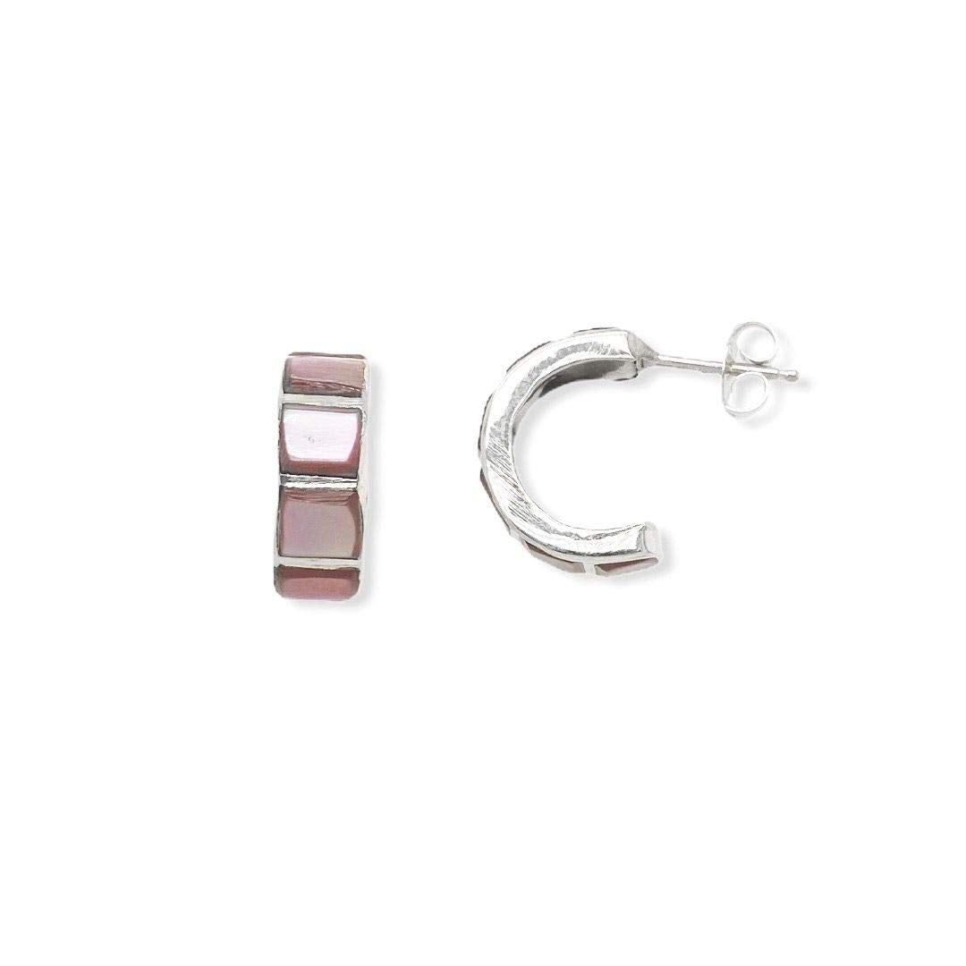Genuine Pink Mother of Pearl Hoop Earrings, 925 Sterling Silver, Native American USA Handmade, Nickle Free