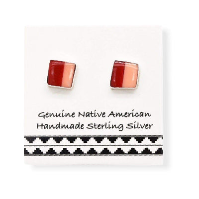 Genuine Red Coral and Pink Shell Stud Earrings in 925 Sterling Silver, Native American USA Handmade, Nickle Free, Square