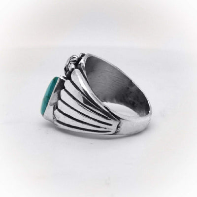 Genuine Easter Blue Turquoise Band Ring, Size 9, Sterling Silver, Authentic Navajo Native American USA Handmade, Artist Signed, Nickel Free, Unisex for Men or Women