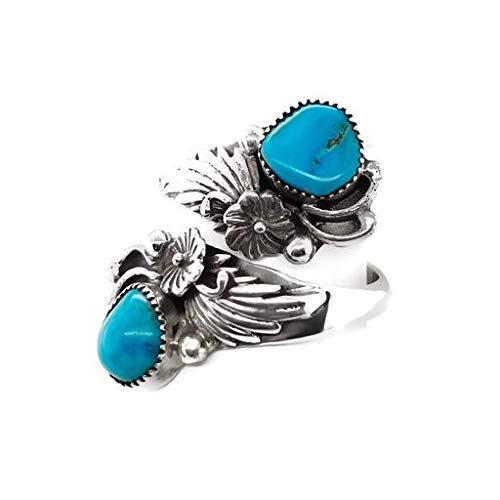 Genuine Sleeping Beauty Turquoise Wrap Ring, Size 8, Sterling Silver, Authentic Navajo Native American USA Handmade, Artist Signed, Nickel Free, Southwest Jewelry