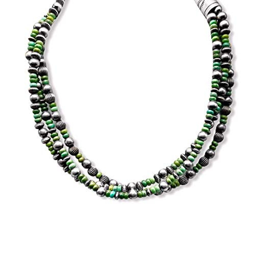 18-22 inch, 3 Strand, Genuine Navajo Pearl Necklace with Green Turquoise, Sterling Silver, Authentic Navajo Native American USA Handmade in New Mexico