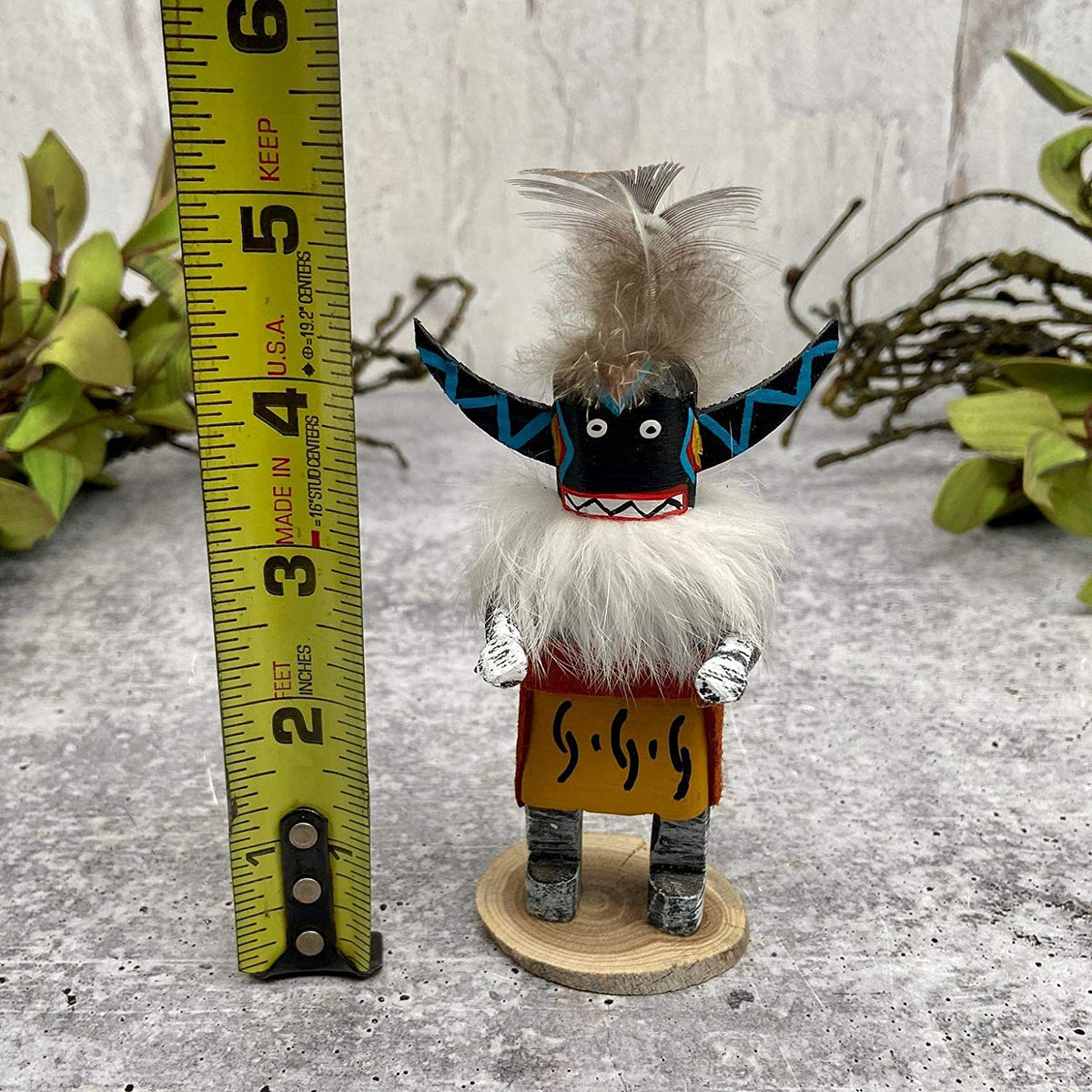 4 Inch Authentic Angry Kachina Doll, Miniature, Genuine Navajo Native American Tribe Handmade in the USA, Artist Signed, Natural Materials, Southwestern Collectible Figurine