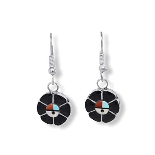 Genuine Black Onyx Zuni Sunface Earrings, 925 Sterling Silver, Native American USA Handmade, Nickle Free, French Hook Style