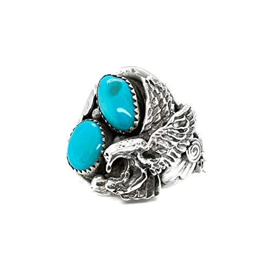 Genuine Sleeping Beauty Turquoise Eagle Ring, Size 13, Sterling Silver, Authentic Navajo Native American USA Handmade, Artist Signed, Nickel Free, Southwest Jewelry for Men