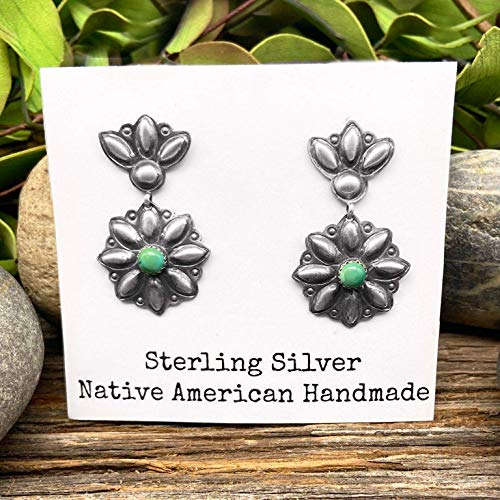 Genuine Green Turquoise Earrings, Oxidized Sterling Silver, Authentic Navajo Native American USA Handmade, Nickle Free, Small Batch Southwest