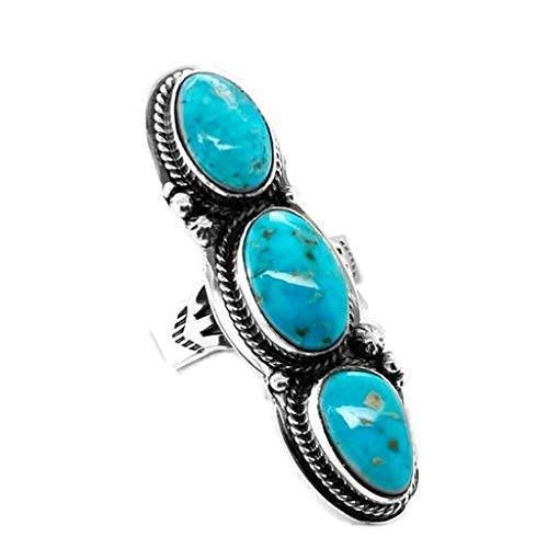 Genuine Sleeping Beauty Turquoise Ring, Size 8.5 Sterling Silver, Authentic Navajo Native American USA Handmade, Artist Signed, Nickel Free, Southwest Jewelry