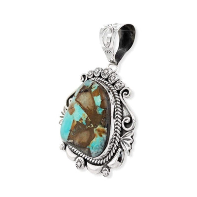 Genuine Royston Turquoise Pendant, Sterling Silver, Authentic Navajo Native American USA Handmade, Artist Signed, Nickel Free, Southwest Jewelry