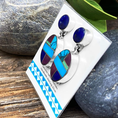 Genuine Stone Multicolor Inlay Earrings, 925 Sterling Silver, Native American USA Handmade, Artisan Signed, Nickle Free, Post Style