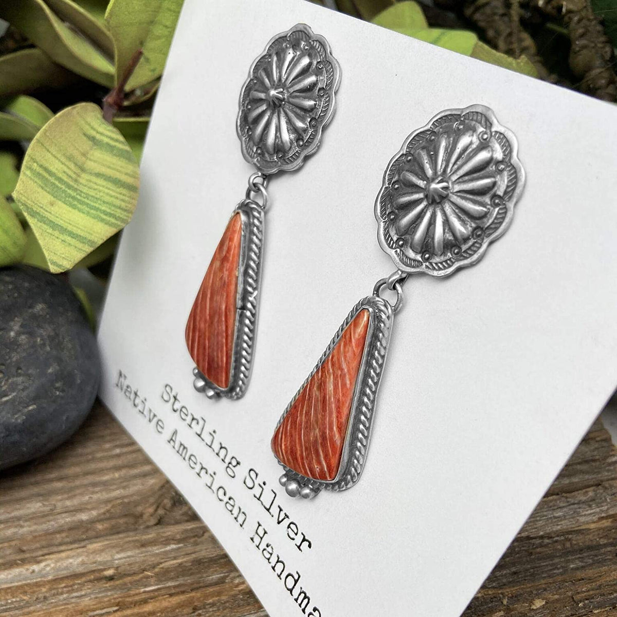 Genuine Red Spiny Oyster Statement Earrings, Oxidized Sterling Silver, Authentic Navajo Native American USA Handmade, Artist Signed, Nickle Free, Southwest Vintage S