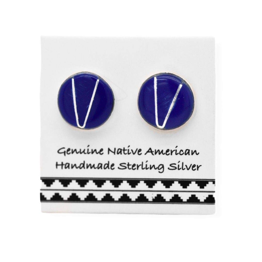 Genuine Lapis Lazuli Stud Earrings in 925 Sterling Silver, Native American USA Handmade, Nickle Free, Navy Blue
