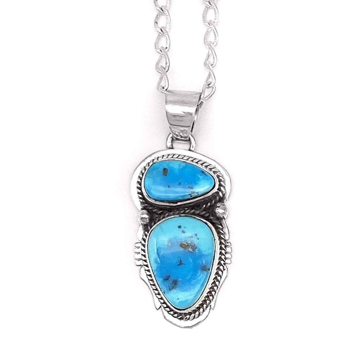 Genuine Kingman Turquoise Necklace, Pendant and Chain Set, 925 Sterling Silver, Native American USA Handmade, Artist Signed, Natural Stone, Nickle Free
