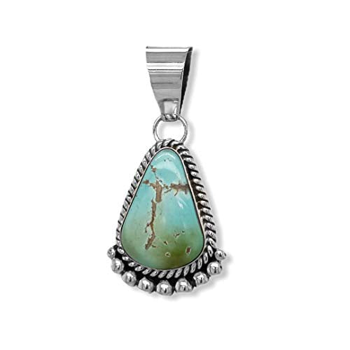 Genuine Royston Turquoise Pendant, Navajo Native American USA Handmade, 925 Sterling Silver, Artist Signed, Natural Stone, Nickel Free