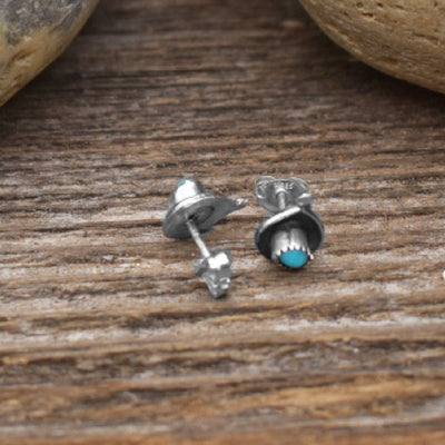 10mm Genuine Sleeping Beauty Turquoise Stud Earrings in 925 Sterling Silver, Authentic Native American Handmade,Nickle Free