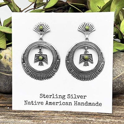 Genuine Green Turquoise Statement Earrings, Sterling Silver, Authentic Navajo Native American USA Handmade, Artist Signed, Nickle Free, Southwest Thunderbird
