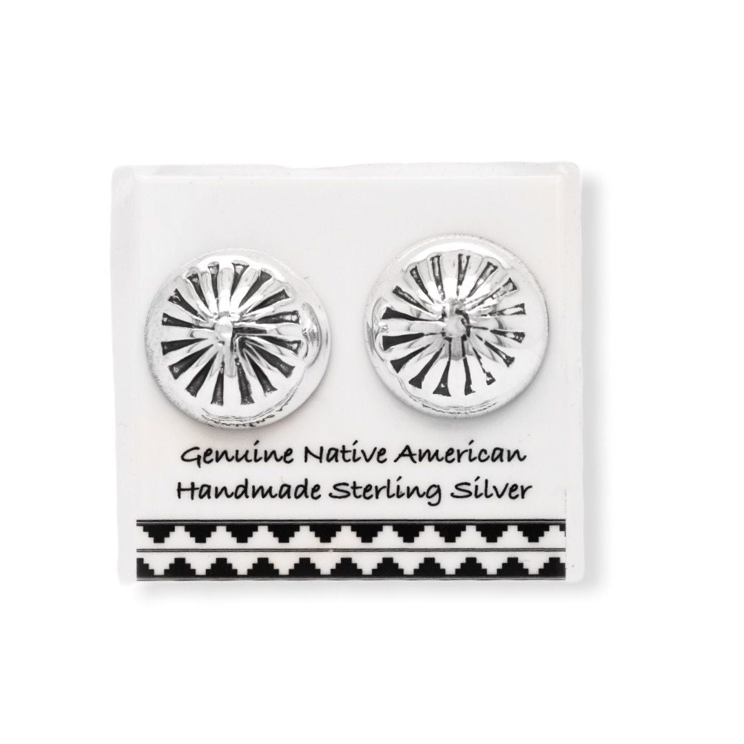 11mm Sterling Silver Concho Stud Earrings, Authentic Native American Handmade, Nickle Free
