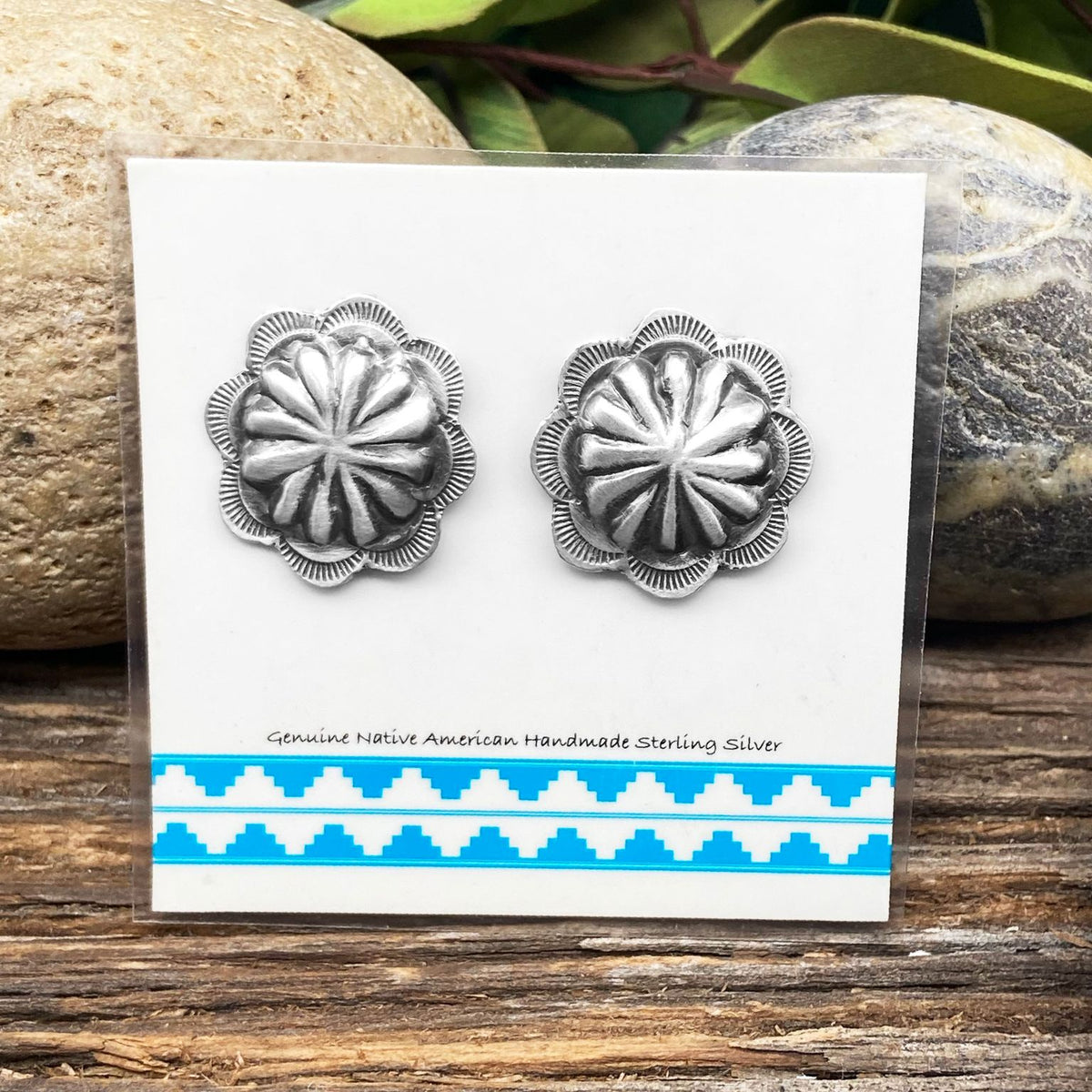 Oxidized Sterling Silver Concho Earrings, Authentic Navajo Native American Handmade in the USA, Nickle Free, Southwest Vintage Style