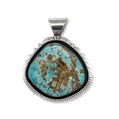 Genuine Sierra Nevada Turquoise Pendant, Sterling Silver, Authentic Navajo Native American USA Handmade, Artist Signed, Nickel Free, Southwest Jewelry