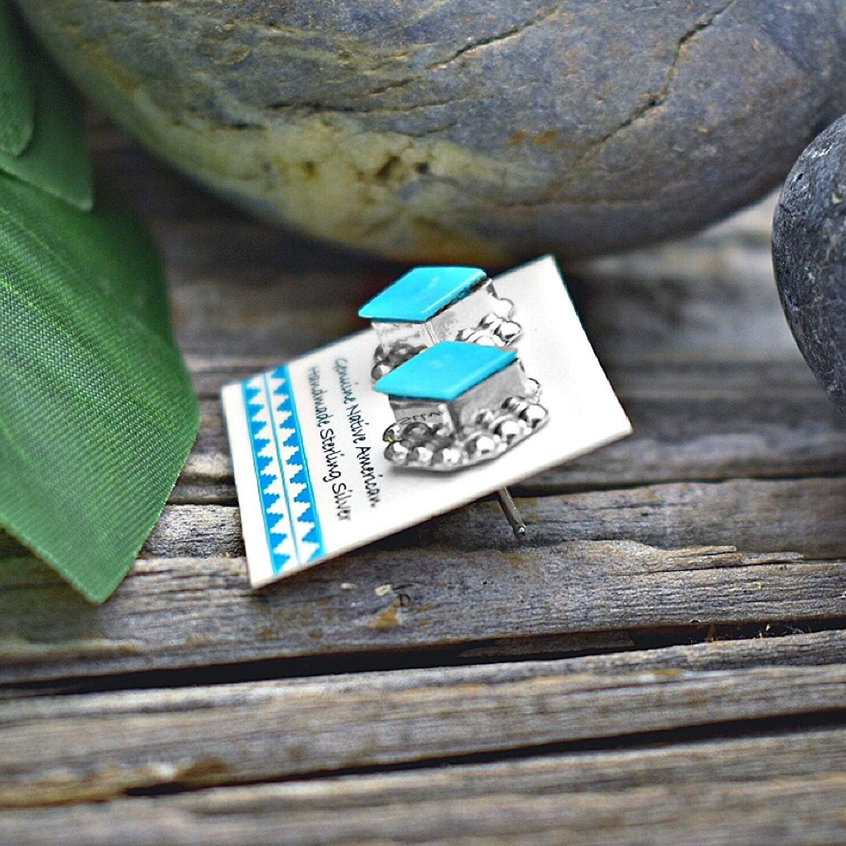 11mm Genuine Sleeping Beauty Turquoise Stud Earrings in 925 Sterling Silver, Diamond Concho Style, Authentic Native American Handmade