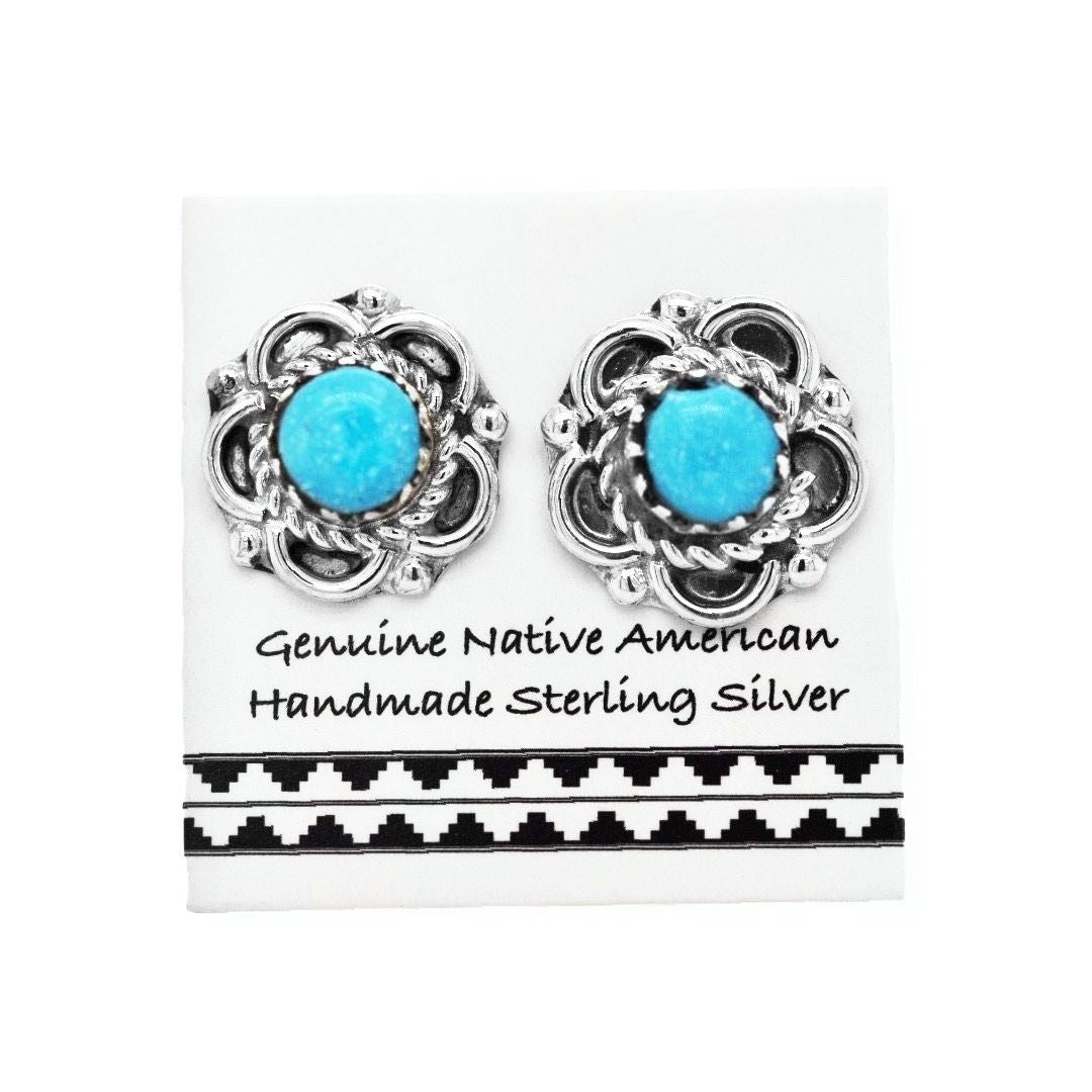 11mm Genuine Sleeping Beauty Turquoise Stud Earrings, 925 Sterling Silver, Native American USA Handmade, Nickle Free, Round