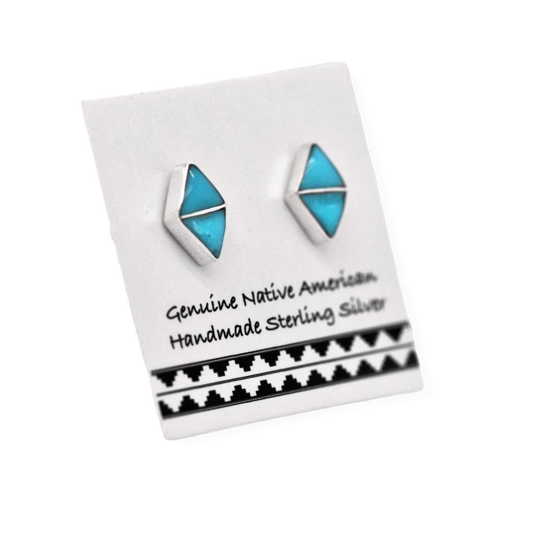 7mm Genuine Sleeping Beauty Turquoise Stud Earrings in 925 Sterling Silver, Inlay Diamond Shaped, Authentic Navajo Native American, Handmade in the USA, Nickle Free