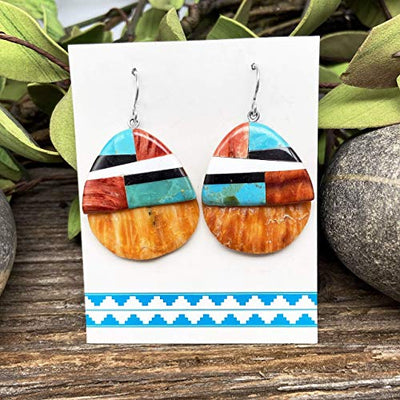 Spiny Oyster Shell and Turquoise Earrings, Santo Domingo Native American Handmade, Sterling Silver, Genuine Shell and Stone, Southwest Style