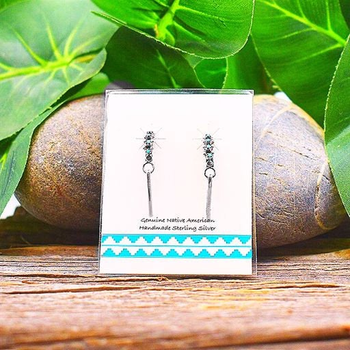 Micro Hoop Earrings with Drop, Sleeping Beauty Turquoise Earrings in 925 Sterling Silver, Native American Handmade in the USA, Nickle Free