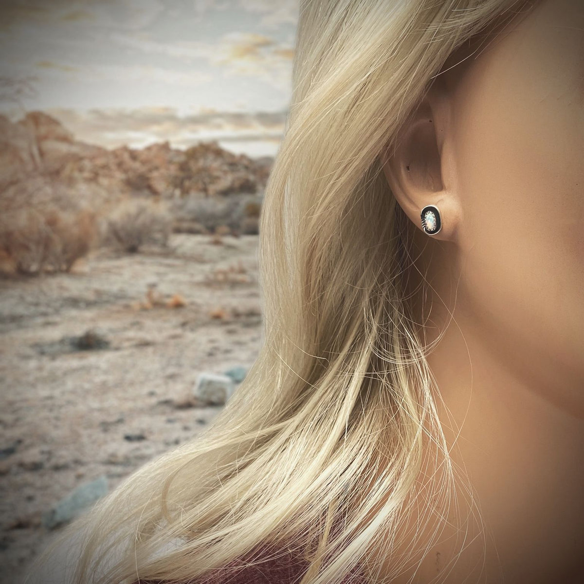 9mm Desert Opal Stud Earrings in 925 Sterling Silver, Authentic Native American Handmade, Nickle Free, White Synthetic Opal