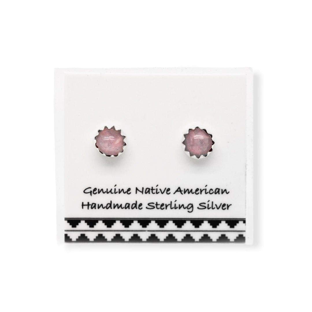5mm Genuine Pink Mother of Pearl Stud Earrings, 925 Sterling Silver, Native American Handmade in the USA, Nickle Free