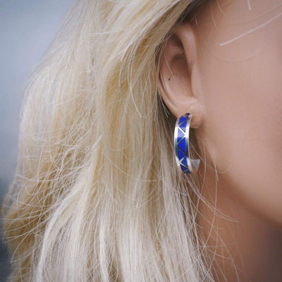 Genuine Lapis Lazuli Half Hoop Earrings in 925 Sterling Silver, Native American Handmade, Nickle Free, Dark Blue