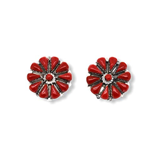 Genuine Red Coral Cluster Stud Earrings, 925 Sterling Silver, Native American Handmade in the USA, Nickel Free