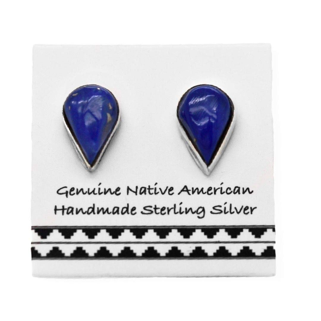 Genuine Lapis Lazuli Stud Earrings, 925 Sterling Silver, Authentic Native American, Handmade in the USA, Nickle Free