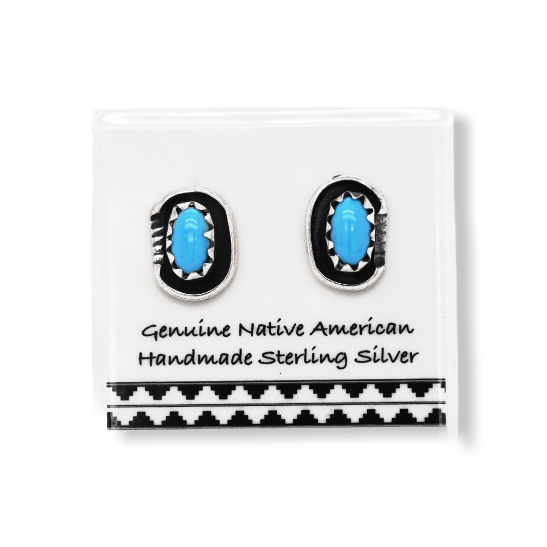 6mm Genuine Sleeping Beauty Turquoise Stud Earrings Set in 925 Sterling Silver, Authentic Native American Handmade, Nickle Free