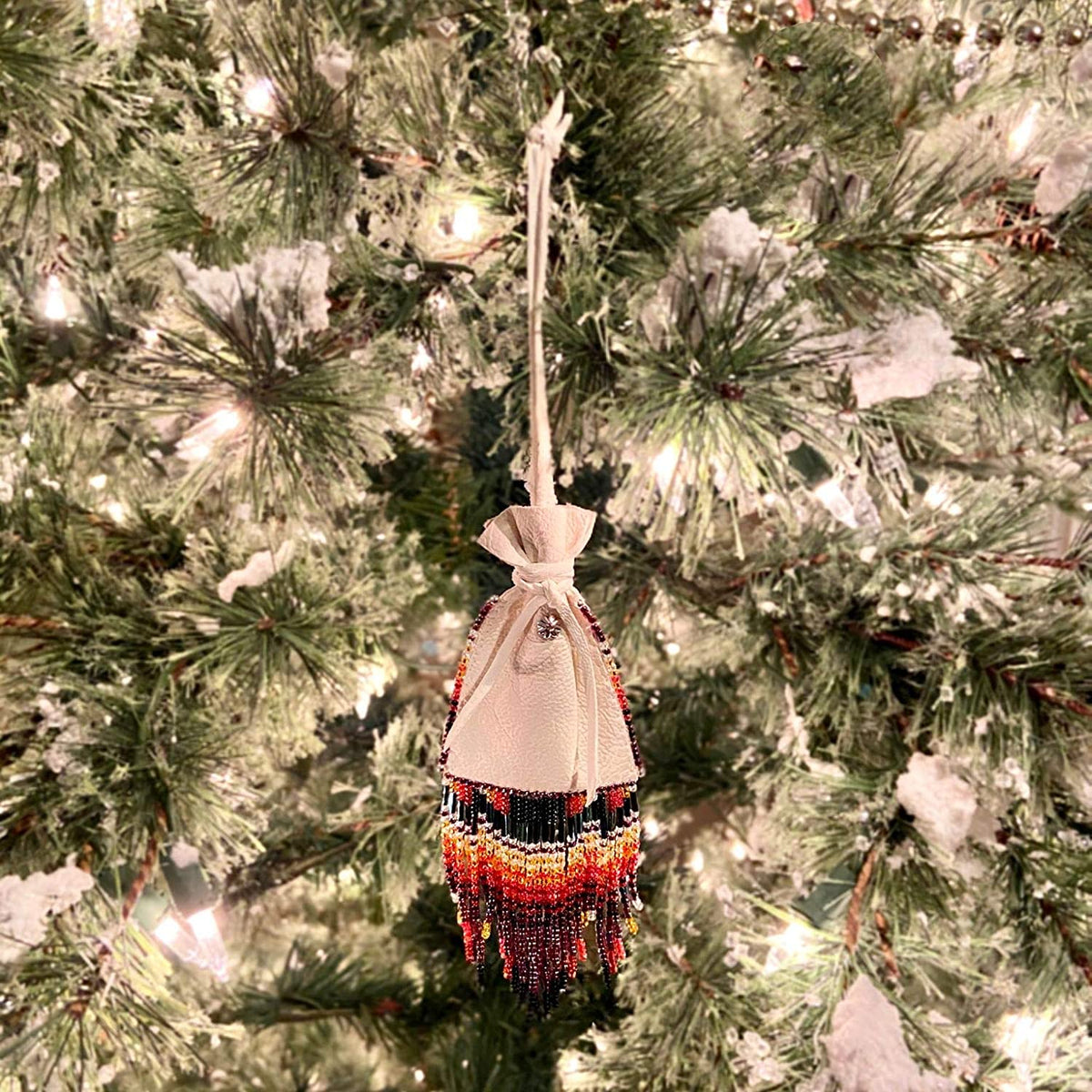 Decorative Native American Handmade Medicine Pouch Ornament, Leather and Traditional Bead Work with Fringe, Southwest Bohemian Home Decor, Unisex, Made in New Mexico, One of a Kind