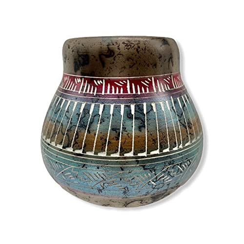 Authentic Native American Horse Hair Pottery, Miniature Traditional Olla Style, Genuine Navajo Tribe USA Handpainted and Etched, Artist Signed, Southwestern Home Decor Collectible