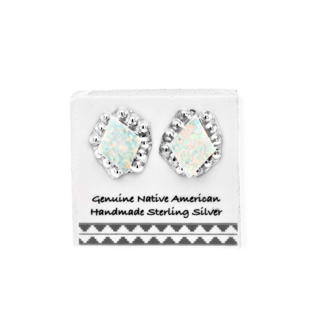 11mm Desert Opal in 925 Sterling Silver, Diamond Concho Style, Authentic Native American Handmade in the USA, White Synthetic Opal